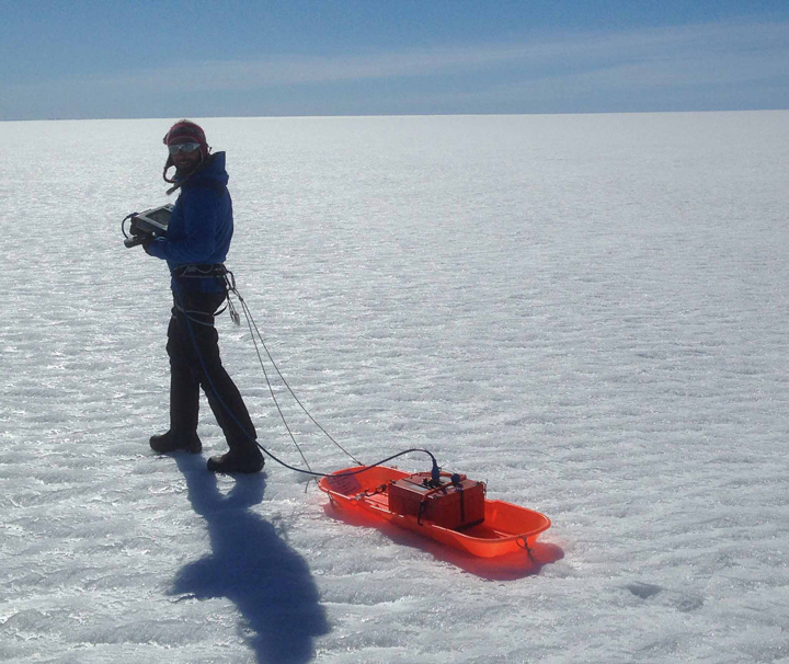 Initial GPR measurements by foot to check the presence of water and its depth. Later on we used a snowmobile to tow the radar.