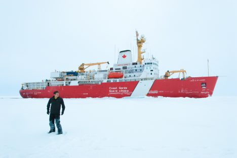 Your blogger, Alek Petty, out on the ice during the 2014 Joint Ocean Ice Study research expedition, with the Louis S. St. Laurent in the background.