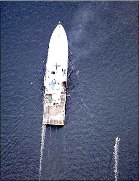 How the Surface Salinity Profiler runs outboard the ship -- photo taken from the Lighter-Than-Air InfraRed System balloon camera.