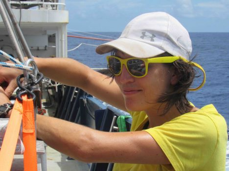 -Kyla Drushka working on the Surface Salinity Profiler.