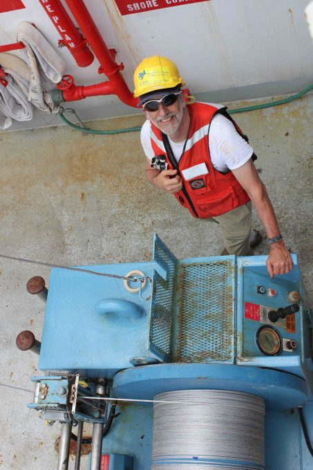 Andy Jessup, voyage chief scientist, at work.