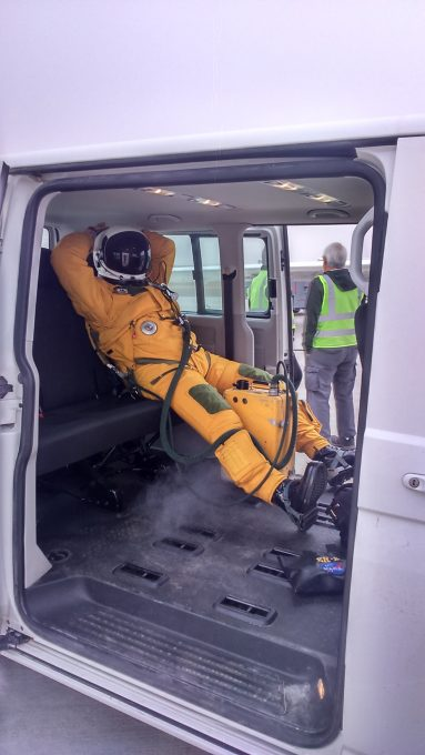 ER-2 pilot in the van before flight. Credit: Danitza Klopper