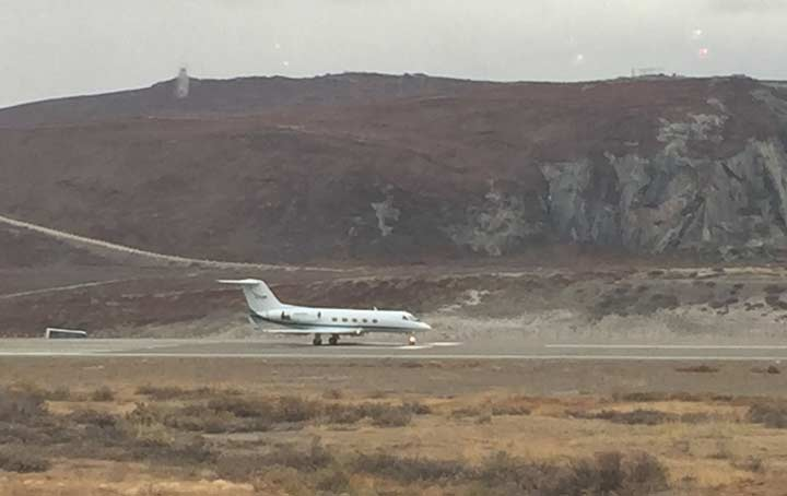 NASA's G-III about to take off from Kangerlussuaq Airport for a day of ocean science research.