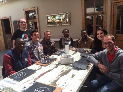 Danitza Klopper (second from right) with a group of NASA scientists and shadowing Namibian and South African students. Photo credit: Cordes Cafe staff
