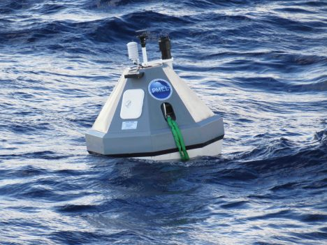 One of the two buoys from the NOAA Pacific Marine Environmental Laboratory used during SPURS-2.