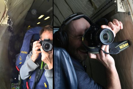 Me (Michael Diamond) and Sam LeBlanc (a scientist working at the NASA Ames sun photometer instrument group) taking dueling photos from aboard the P3. Photo credit: Sam LeBlanc and Michael Diamond. You can guess in which order :)