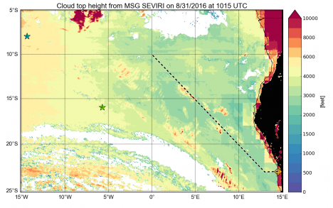 Map of the southeast Atlantic and coastal west Africa with our flight track marked in black/white dashes. The mid-level clouds can be seen in the satellite-estimated cloud top heights as the yellow-to-red colors around 5° East and 15° degrees South. Walvis Bay, our starting point, is marked as the orange diamond. Photo credit: Michael Diamond