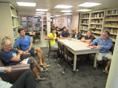 SPURS-2 planning is a daily occurrence in the R/V Revelle library. From left to right: Janet Spintall, Denis Volkov, Kyla Drushka, Ben Hodges, Audry Hasson, Julian Schanze and Jim Edson.