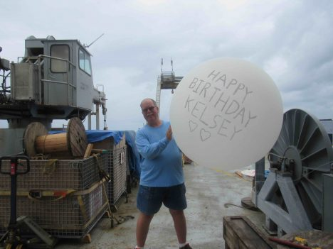 Your blogger, Eric Lindstrom, sending his daughter Kelsey a birthday balloon.