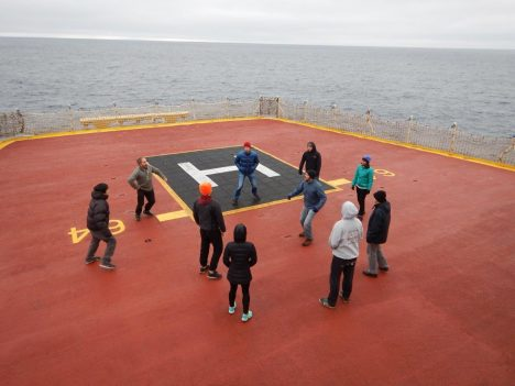 Hacky sack on the helideck. You can spot me by the bright orange hat.