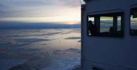 Scientist Adam Monier looks out over Arctic sea ice.