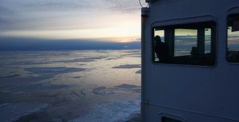 Scientist Adam Monier looks out over Arctic sea ice.