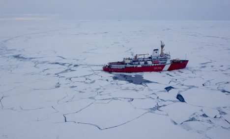 View from a helicopter of our ice breaker, the CCGS Louis S. St. Laurent, taken after Ice Station 1.