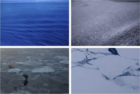 Early stages of sea ice growth: nilas (top left), pancake ice (top right), young grey-white ice (bottom left) and first-year ice (bottom right). The top photos are courtesy of Jean Mensa.
