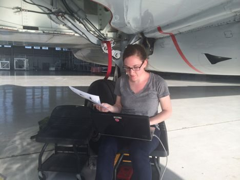 Here I am, downloading data from an aircraft instrument, HIRAD, after a science flight as a part of NASA's HS3 mission.