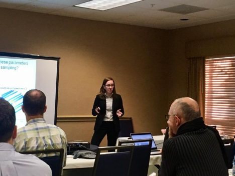 Here I am, presenting my work at the CYGNSS science team meeting. Photo credit: EJ Olsen
