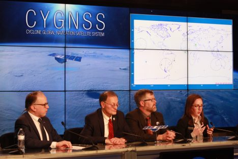 CYGNSS Science Press Brief, From left to right: Sean Potter, Chris Ruf, Aaron Ridley, and me (Mary Morris). Photo Credit: Frank Marsik