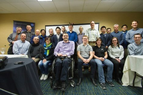 CYGNSS Science Team members get together to meet and discuss new findings, as well as prepare for the first year of science operations. Participants included: Nancy Baker, Charles Bussy-Virat, Matt Buchanan, Tim Butler, Kenny Carlsen, Juan Crespo, Maurizio di Bisceglie, Lilli Galdi, Jim Garrison, Joel Johnson, Stephen Katzberg, Mark Leidner, Xuanli Li, Sharan Majumdar, Darren McKague, Brian McNoldy, Mary Morris, Stephen Musko, Andrew O'Brien, Jeonghwan Park, Derek Posselt, Zhaoxia Pu, Aaron Ridley, Emily Riley, Chris Ruf, Kaitie Schoenfeldt, Bill Schreiner, Seubson Soisuvarn, Tianlin Wang, Xiaosu Xie, Valery Zavorotny (Some not pictured, as they participated remotely.) Photo credit: Aaron Ridley